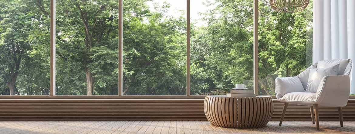 Modern living room with nature view 3d rendering Image